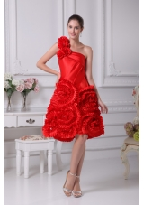 Hand Made Flowers One Shoulder Rolling Flowers Prom Dresses