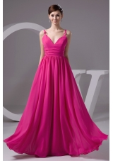 Hot Pink V-neck Chiffon Floor-length Prom Gown Dress in Hot Pink
