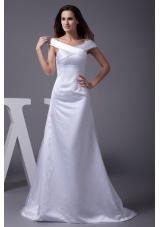 Off The Shoulder Sheath Brush Train Bridal Dresses with Zipper-up Back