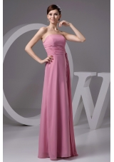 Rose Pink Chiffon Strapless Long Prom Gown Dress with Ribbon