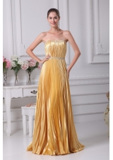 Ruching Pleating and Beading Strapless Long Prom Dresses