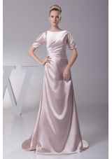 Simple Light Pink Scoop Short Sleeves Ruching Prom Dresses