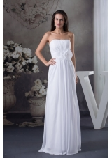 Strapless Long Wedding Dress with Ruched Hand Made Flowers Sash