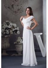 V-neck Buttrfly Sleeves Sash Sheath Floor-length Bridal Dresses