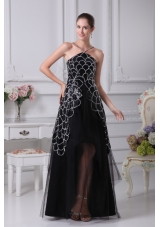 V-neck Sequin Taffeta and Tulle Tiers High Low Prom Dresses