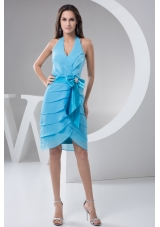 Aqua Blue Halter Prom Holiday Dress with Bowknot Decoration