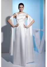 Asymmetrical Neck Ruched White Wedding Dresses Floor-length