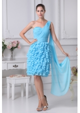 Blue Ruffled Layers One Shoulder Watteau Train Prom Dresses