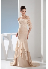 Champagne Off-the-shoulder Half-length Lace Sleeve Bridal Dresses