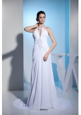 Court Train Beaded Ruched White Wedding Dress with Cutouts