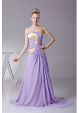 Lavender One Shoulder Ruched Brush Train Prom Dress