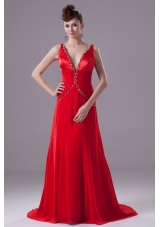 Red V-neck Brush Train Prom Dresses with Beading and Ruching