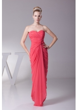 Ruched Sweetheart Column Full Length Chiffon Prom Gowns in Watermelon