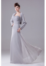 Ruching and Beading Decorated Strapless Long Prom Dress in Gray