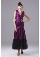 Ruching and Bowknot Decorated Ankle-length Purple Prom Dresses