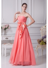 Strapless Floor-length Prom Dresses with Bowknot Ribbon
