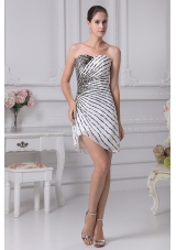 Sweeheart Culumn Mini-length Prom Dress with Colorful Beadings