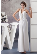 Halter V-neck White Chiffon Wedding Dress with Beading and Ankle-length