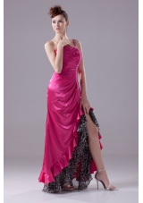Hot Pink One Shoulder High-low Prom Gowns with Beading and Ruching