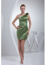 Layered One Shoulder Mini-length Prom Gown Dress in Olive Green