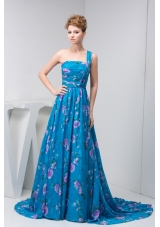 One Shoulder Ruched Prom Holiday Dress with Colorful Print