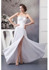 Popular Strapless Floor-length Bridal Gowns with Beading and High Slit