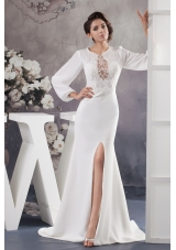 Scoop High Slitted Wedding Dress with Brush Train and Long Sleeves