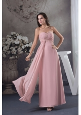 Baby Pink Sweetheart Ankle-length Prom Dress with Beading for Party