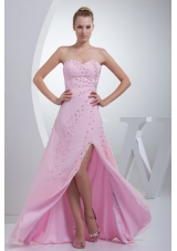 Beaded Pink Floor-length Prom Gown Dress with High Slit and Sweetheart