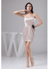 Champagne Mini-length Prom Gown Dress with Ruches and Flower