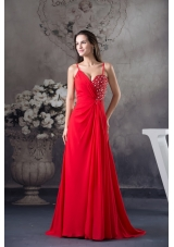 Column Sweep Train Red Prom Dress with Beading for Party