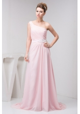 Court Train One Shoulder Baby Pink Chiffon Prom Dress with Appliques