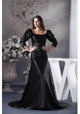 Fashion Black Square Long Sleeves Ruching Prom Dresses
