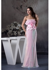 Flowers and Petals Accent on Bust Long Pink Prom Graduation Dress