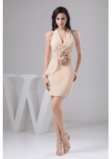 Halter Ruches and Flowers Accent Prom Gown Dress in Champagne