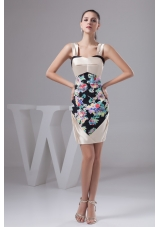 Multi-Colored Printing Prom Evening Dress Of Straps and Mini-length