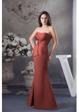 Ruched Sweetheart Mermaid Prom Dress with Appliqued Bowknot