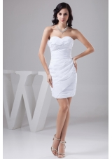 Ruches and Petals Accent Mini-length Column White Bridal Gowns