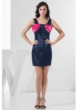 Scoop Neckline Mini-length Navy Blue Prom Dress with Bowknot