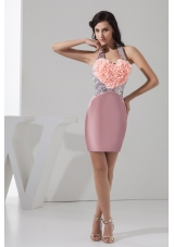 Sequins and Rolling Flowers Accent Pink Halter Prom Evening Dress