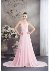 Sweetheart Court Train Pink Chiffon Prom Celebrity Dress with Beading