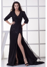 V-neck 3/4 Sleeves Sequins Sweep Train Prom Evening Dress with High Slit