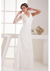 V-neck Floor-length Chiffon Bridal Dresses with Beaded One Long Sleeve