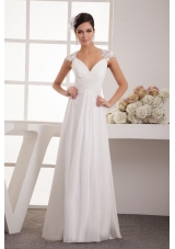Beading and Appliques Accent Floor-length Chiffon Wedding Dresses