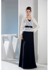 Column Navy Blue and White V-neck Long Sleeves Lace Prom Dresses