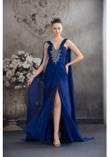 Beaded and Ruched Royal Blue Prom Formal Dress with Watteau Train