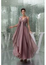 Elegant Spaghetti Straps Ruched Chiffon Prom Gown Dress