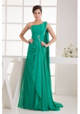 Green One Shoulder Watteau Train Beaded Ruched Prom Dress