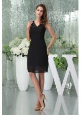 Knee-length Black V-neck Chiffon prom Dresses for 2014 Spring