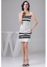 Popular White Mini-length Taffeta Prom Gown with Black Embellishment
